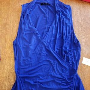 Kenneth Cole Blue Faux Wrap Tank